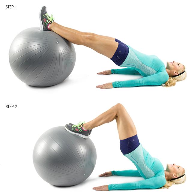 Упражнение на мышцы задней части бедра и пресс на фитболе