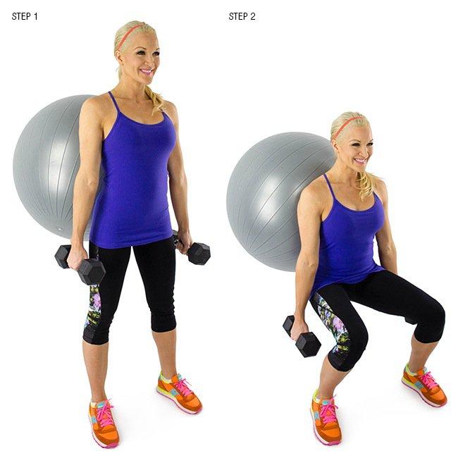 Упражнение на квадрицепсы, бедра и ягодицы с фитболом